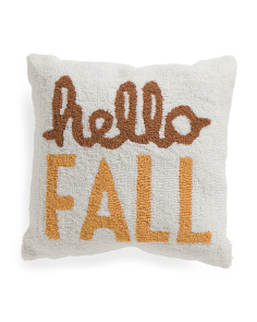 16x16 Hand Hooked Hello Fall Pillow