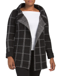 Plus Wool Blend Windowpane Sweater Jacket