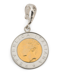 Made In Italy Sterling Silver 500 Lire Coin Enhancer Pendant
