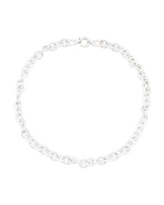 Made In Italy Sterling Silver Satin Oval Rolo Necklace