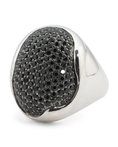 Made In Italy Sterling Silver Pave Black Spinel Ring