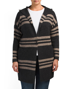 Plus Wool Blend Long Hooded Cardigan