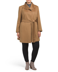 Plus Made In USA Wing Collar Cashmere Wrap Coat