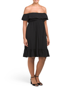 Plus Made In USA Off The Shoulder Ruffle Dress