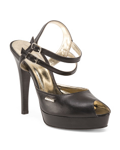 Made In Italy Leather Ankle Strap Pumps