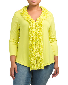 Plus Made In USA Ruffled Knit Top