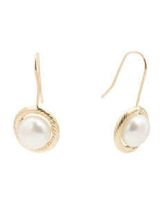 Made In Italy 14k Gold 8mm Cultured Pearl Drop Earrings