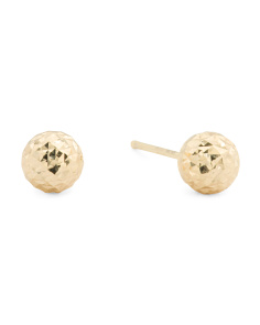 Made In Italy 14k Gold Diamond Cut Ball Stud Earrings