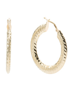 Made In Italy 14k Gold Diamond Cut Hoop Earrings