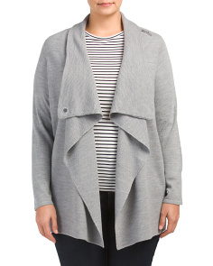 Plus Merino Drape Neck Cardigan