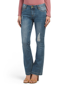 Petite Destructed Flare Jeans