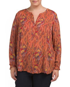 Plus Feather Paisley Top