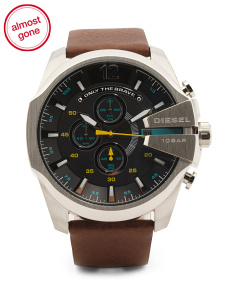 Men's Chronograph Mega Chief Leather Strap Watch