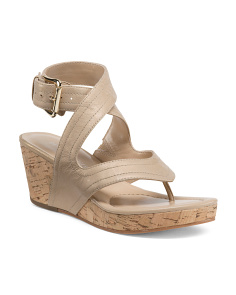 Alma Leather Wedge Sandals