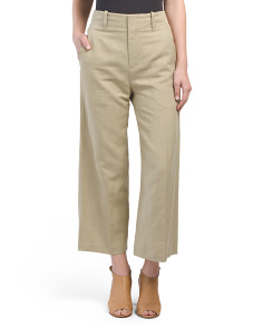 Linen Blend High Waist Wide Pants