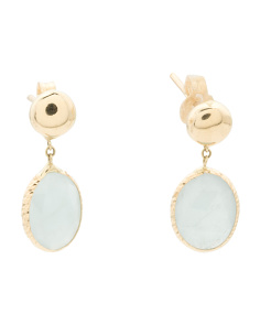 Made In Italy 14k Gold Oval Aquamarine Drop Earrings