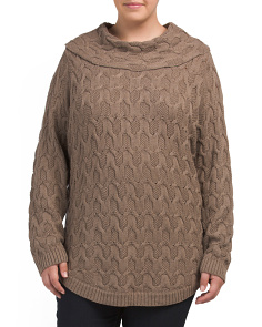 Plus Cable Knit Rounded Hem Sweater
