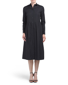 Shirred Shirt Dress