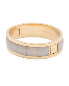 Cream Stone Filled Gold Hinge Bangle Bracelet