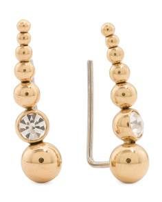 Graduated Gold Bead And Cubic Zirconia Crawler Earrings