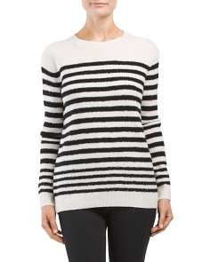 Wool Blend Engineered Striped Sweater