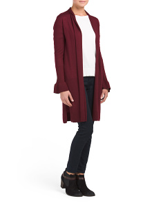 Bell Sleeve Merino Wool Long Cardigan