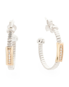 Made In Italy 14k Gold Sterling Silver CZ Hoop Earrings