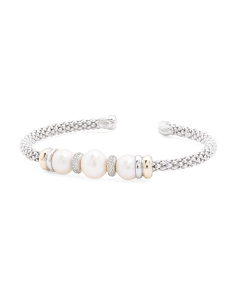 Made In Italy 14k Gold And Sterling Silver Pearl CZ Bracelet