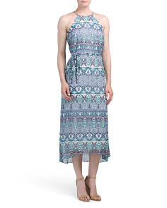 Aztec Printed Chiffon Midi Dress