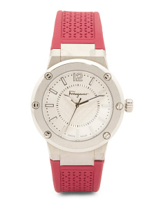 Women's Swiss Made F 80 Pink Rubber Strap Watch