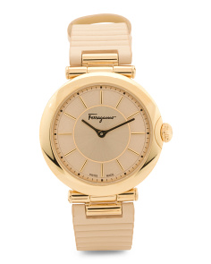 Women's Swiss Made Style Gold Plate Calfskin Strap Watch