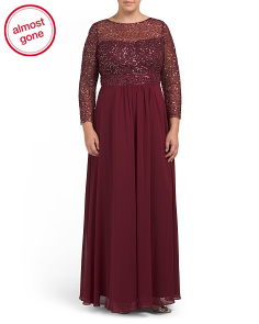 Plus Sequin Lace Accented Gown