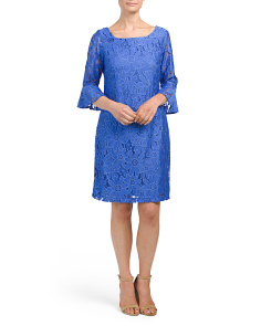 Bell Sleeve Floral Lace Dress