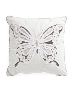 Kids Made In India 20x20 Beaded Butterfly Texture Pillow