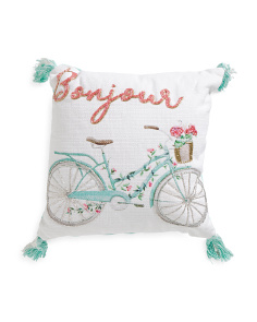 Kids Made In India 16x16 Beaded Bicycle Pillow