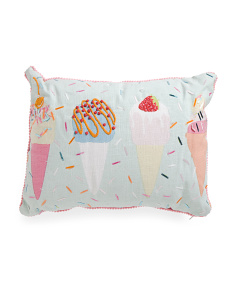 Kids Made In India 12x20 Sequined Ice Cream Pillow