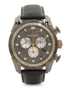 Men's Swiss Made Chronograph V Ray Leather Strap Watch