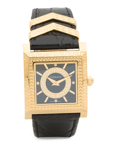Women's Swiss Made Diamond Index Dv 35 Leather Strap Watch