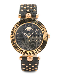 Women's Swiss Made Vanitas Quilted Leather Strap Watch