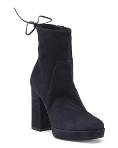 Made In Italy High Heel Suede Platform Booties