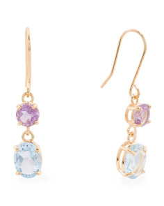 Made In Italy 14k Gold Amethyst And Blue Topaz Earrings
