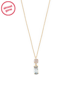 Made In Italy 14k Gold Rose Quartz And Blue Topaz Necklace