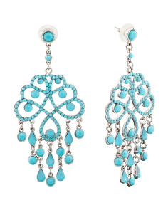 Blue Opal Crystal Statement Earrings