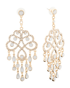 Opal Crystal Statement Earrings In Gold Tone