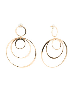Multi Circle Hoop Earrings In Gold Tone