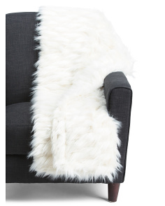 Mona Jacquard Faux Fur Throw