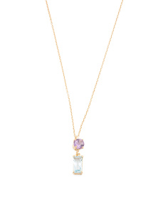 Made In Italy 14k Gold Amethyst And Blue Topaz Necklace