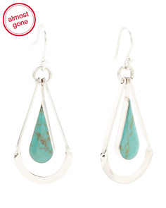 Made In Mexico Sterling Silver Turquoise Open Drop Earrings