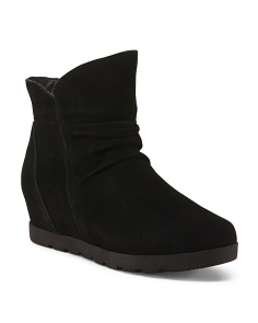 Waterproof Suede Ankle Wedge Booties