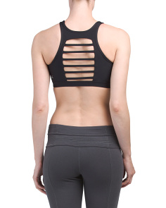 Slit Front Barre Back Sports Bra
